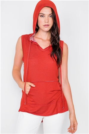 Ketchup Sleeveless Hooded Muscle Top