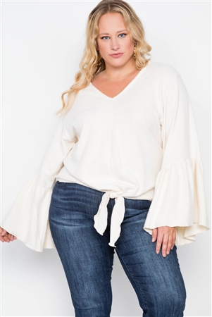 Plus Size Ivory Long Bell Sleeve V-neck Sweater