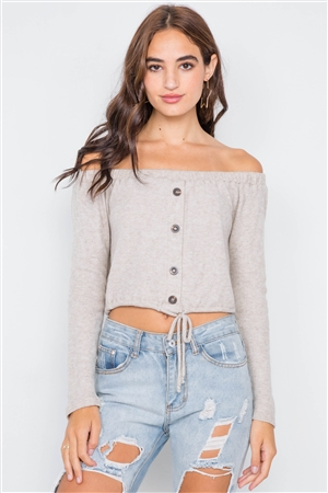 Beige Front Self-Tie Relaxed Fit Off-The-Shoulder Top