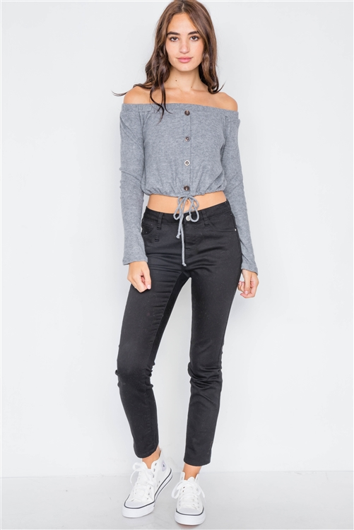 Grey Front Self-Tie Relaxed Fit Off-The-Shoulder Top