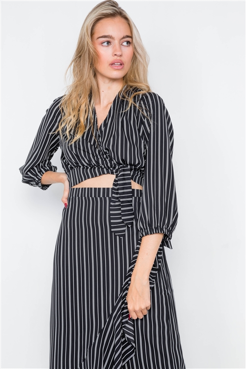 Black & White Stripe Crop V-Neck & Mock Wrap Midi Skirt Set
