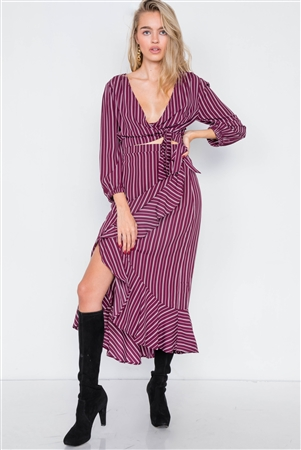 Burgundy & White Stripe Crop V-Neck & Mock Wrap Midi Skirt Set