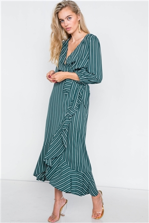 Green & White Stripe Crop V-Neck & Mock Wrap Midi Skirt Set