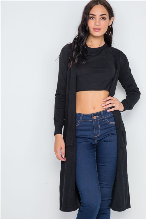 Black Button Front Longline Cardigan