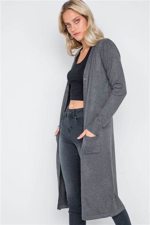 Charcoal Button Front Longline Cardigan