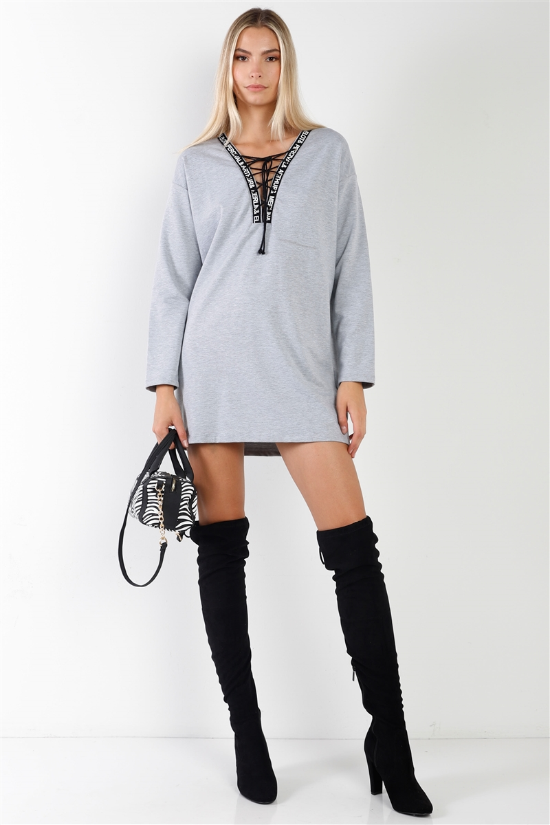 Grey Long Sleeve Graphic Trim Lace-Up Sweater Dress