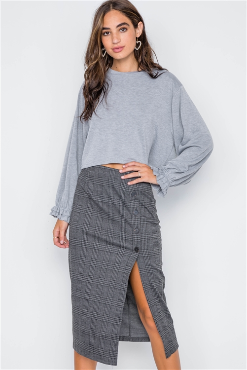 Charcoal Plaid High-Waist Side Slit Pencil Skirt
