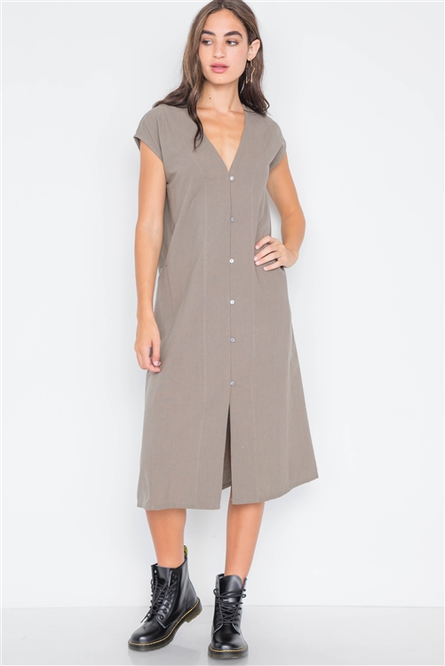 Field Grey Button Down Sleeveless Dress
