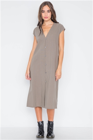Field Grey Button Down Sleeveless Midi Dress