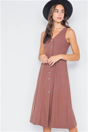 Marsala Button-Front A-Line Midi Dress