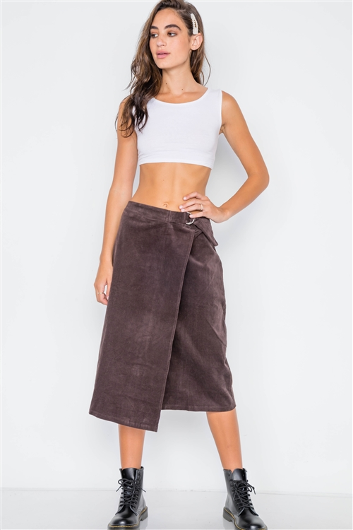 Brown Corduroy Asymmetrical Front Midi Skirt