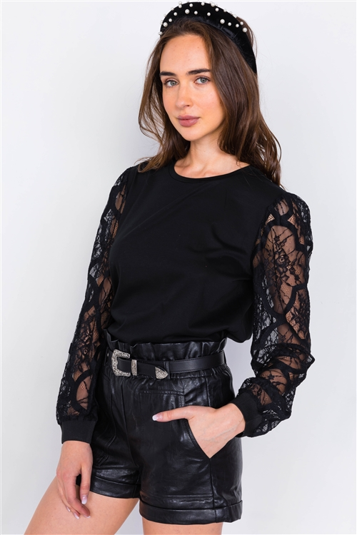 Black Lace Full Puff Sleeve Causal Office Chic Top