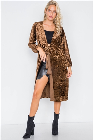 Coffee Crushed Velvet Front Bow Tie Jacket