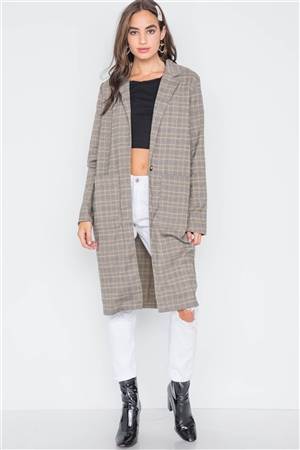 Bark Grey Plaid Single Button Long Sleeve Blazer
