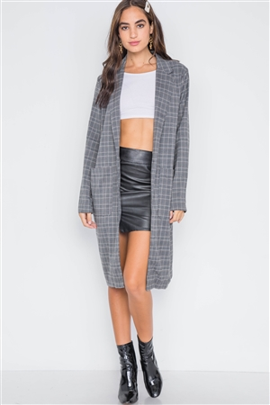 Umber Plaid Single Button Long Sleeve Blazer
