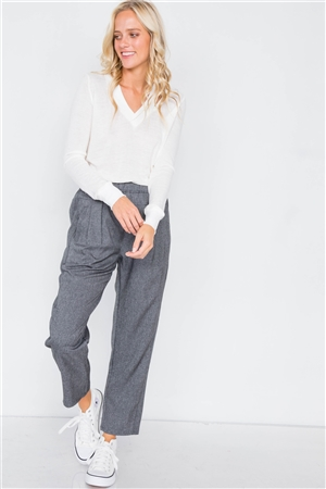 Charcoal High Waist Pleated Cinched Stretchy Pant
