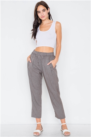 Grey Brown High Waist Pleated Cinched Stretchy Pant