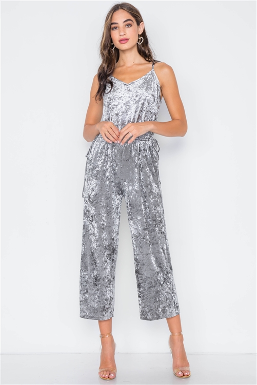 Moon Dust Crushed Velvet V-neck Wide Leg Jumpsuit