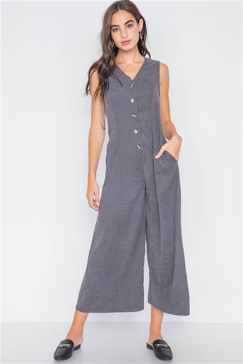 Carbon Crushed Button-Front Wide Leg Jumpsuit