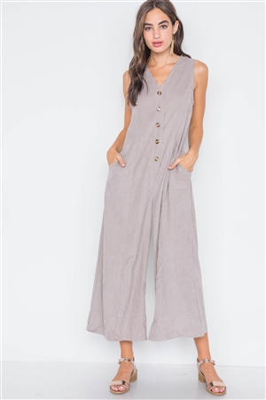 Taupe Crushed Button-Front Wide Leg Jumpsuit