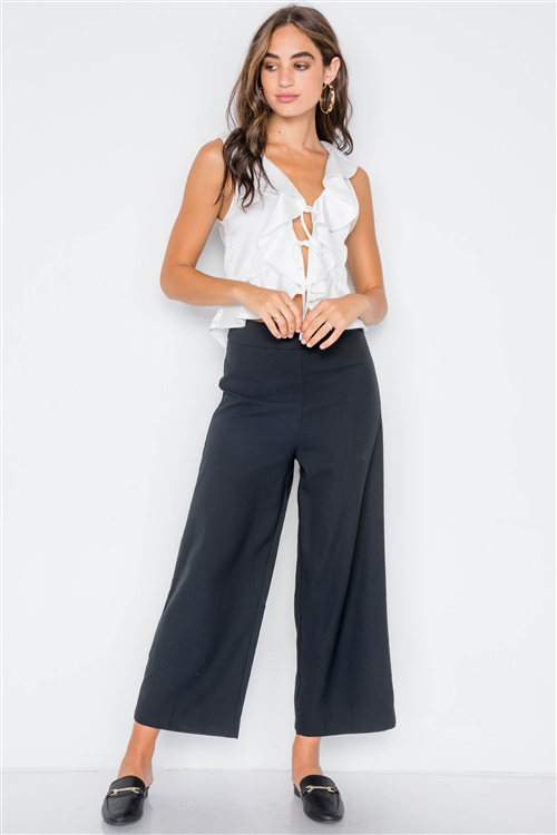 Black Wide Leg Ankle Length Pants