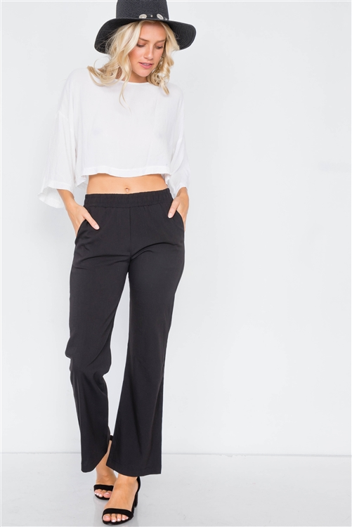 Black Wide Leg Ankle Mid Rise Pant