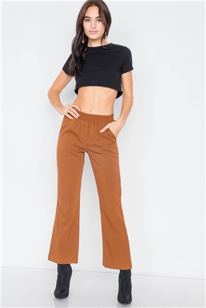 Copper Wide Leg Ankle Mid Rise Pant