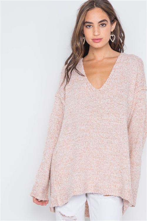 Ballet Pink Heathered Knit Long Sleeve Sweater