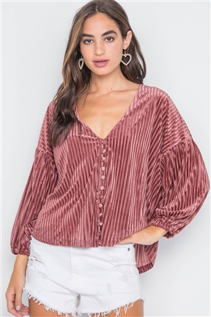 Rose Ribbed Velvet Loose Fit Button-Front Top