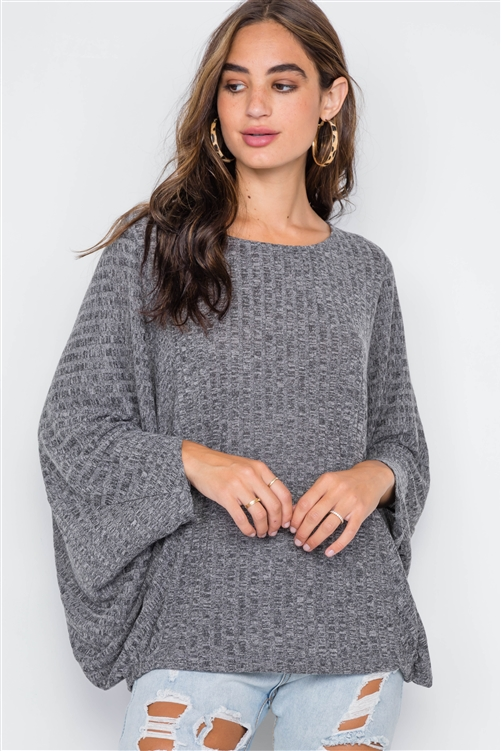Charcoal Ribbed Loose Fit Knit Top
