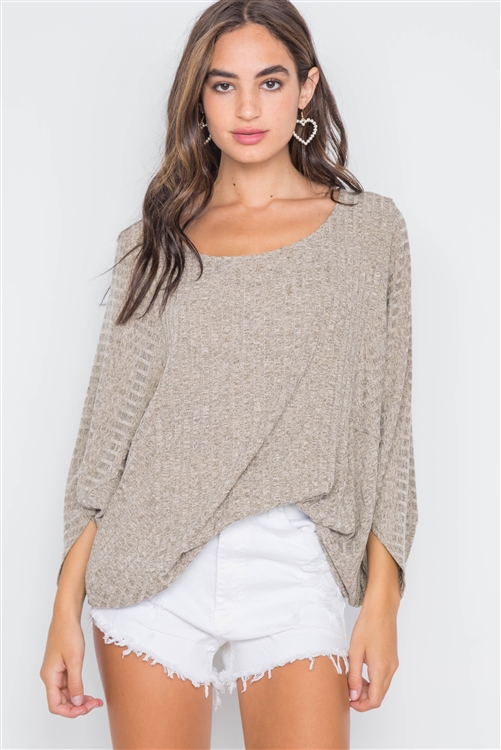 Dry Theme Ribbed Loose Fit Knit Top