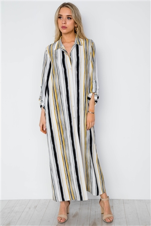 White Mustard Stripe Long Sleeve Button Down Shirt Dress