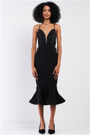 Black Sleeveless Deep V-Neck Mermaid Tail Flare Hem Midi Dress /3-2-1