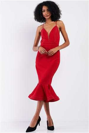Red Sleeveless Deep V-Neck Mermaid Tail Flare Hem Midi Dress /3-2-1