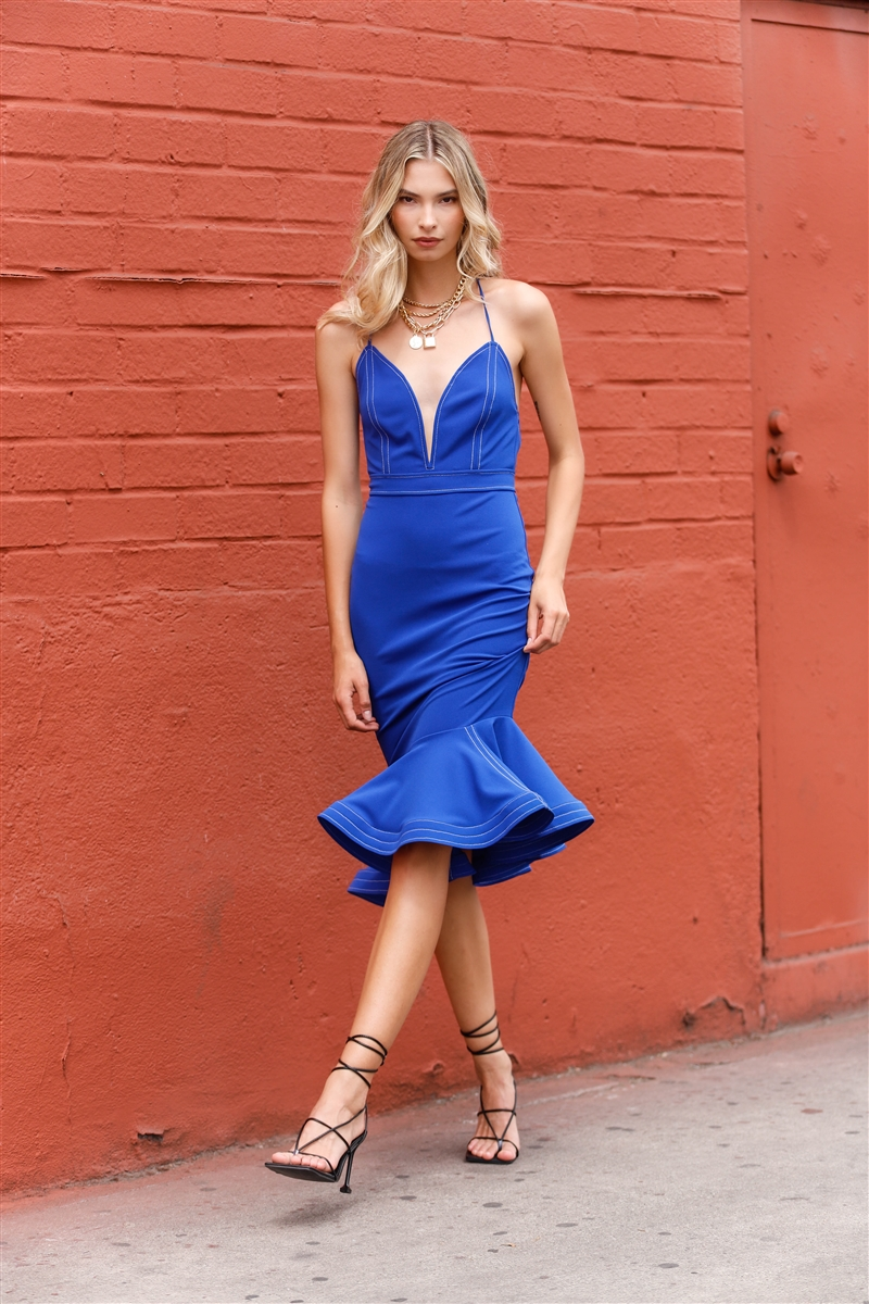 Royal Blue Sleeveless Deep V-Neck Mermaid Tail Flare Hem Midi Dress /3-2-1