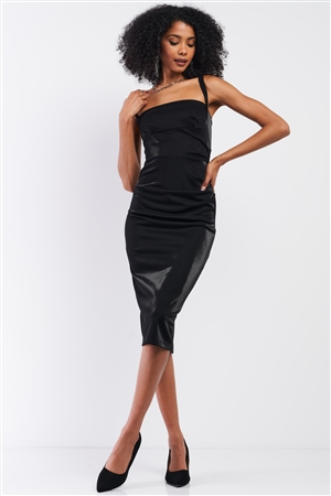Black Sleeveless Square Neck Back Slit Detail Fitted Midi Dress /3-2-1