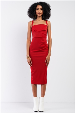 Red Sleeveless Square Neck Back Slit Detail Fitted Midi Dress