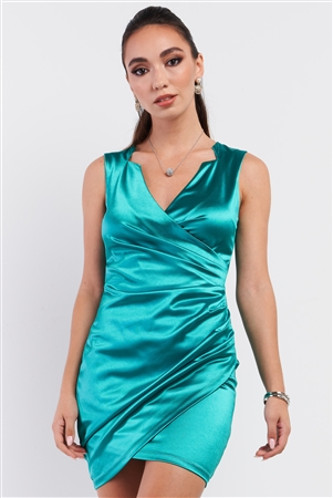 Emerald Green Satin Effect Sleeveless V-Neck Wrap Front Detail Mini Dress /3-2-1