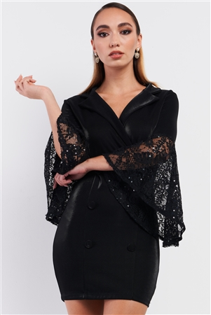 Black V-Neck Mesh Sequin Embroidered Sleeve Detail Mock Double Breast Blazer Mini Dress /3-2-1