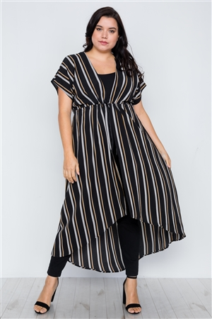 Plus Size Black Multi Stripe Kimono Cover Up