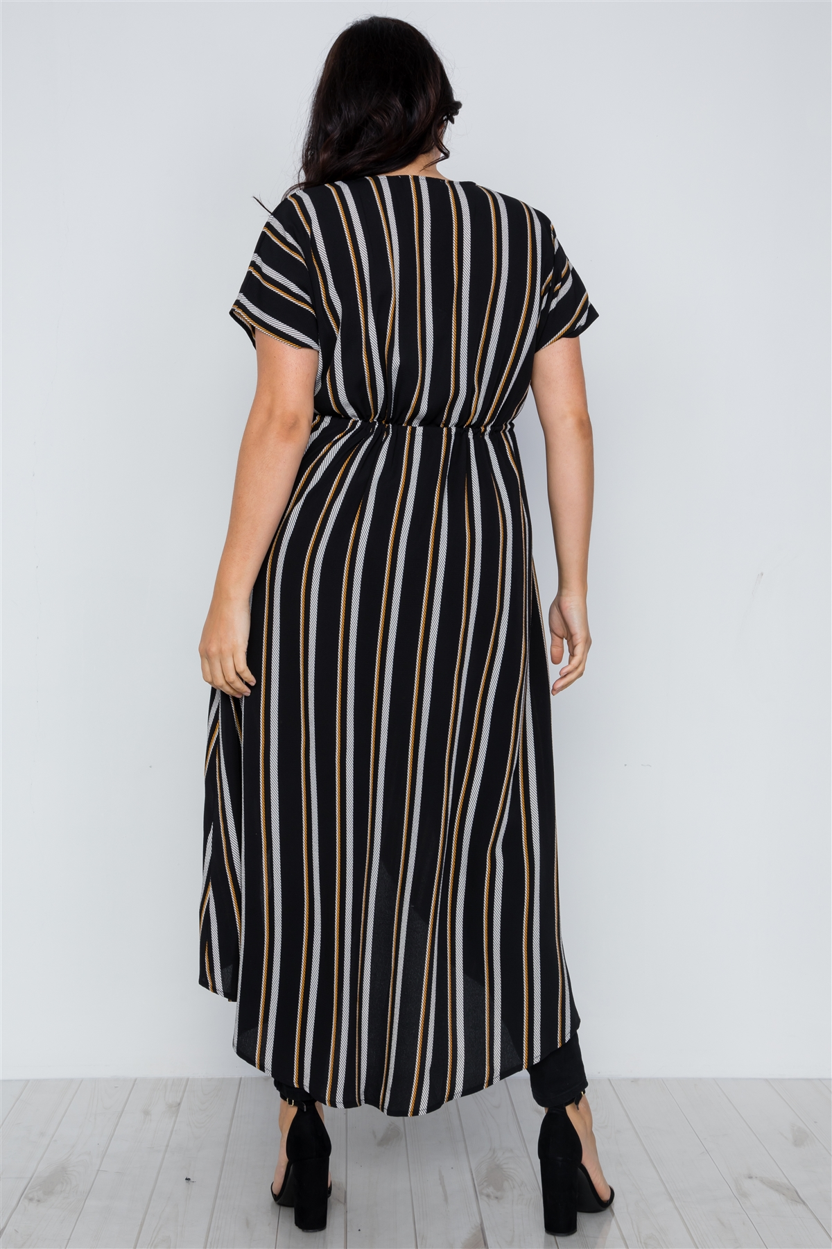 3616a49d6d9 Plus Size Black Multi Stripe Kimono Cover Up  2-2-2