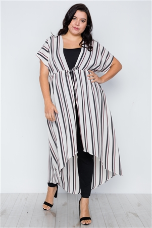 Plus Size White Multi Stripe Kimono Cover Up