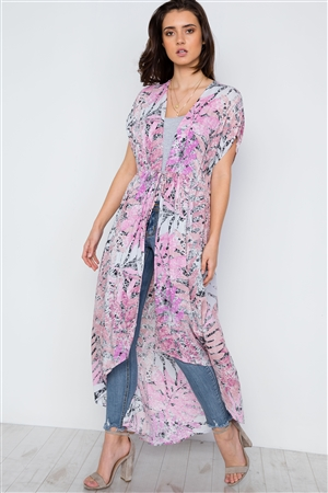 Pink Multi Color Floral Print Cover Up Cardigan