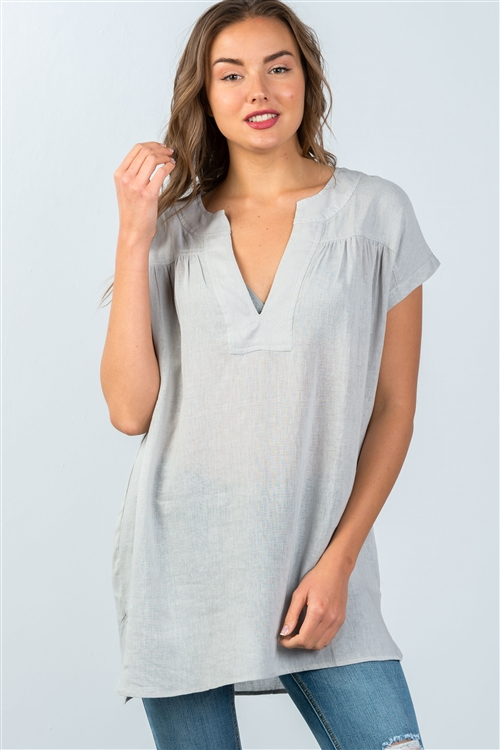 Cement V-Neck Drop Shoulder Oversized Tunic Top