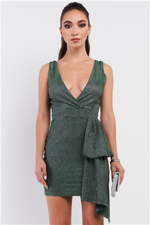 Green Shimmer Scales Embroidery Deep V-Neck Sleeve less Draped Bandage Mini Dress 3/2/1