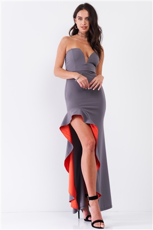 Grey Coral Sleeveless Plunging Sweetheart Neckline Ruffle Trim Front Slit Detail Fitted Maxi Dress /1-1-1