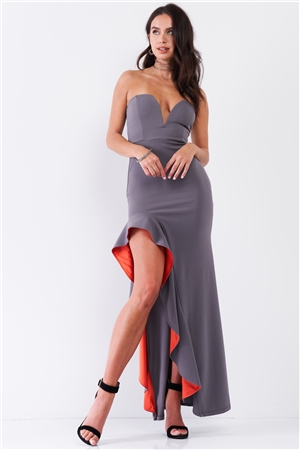 Grey Coral Sleeveless Plunging Sweetheart Neckline Ruffle Trim Front Slit Detail Fitted Maxi Dress /2-2-2