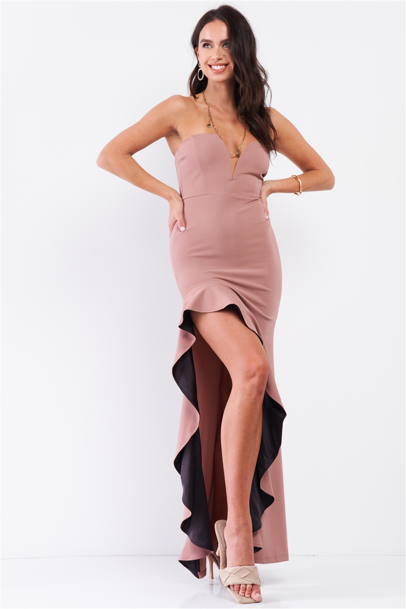 Rose Chocolate Sleeveless Plunging Sweetheart Neckline Ruffle Trim Front Slit Detail Fitted Maxi Dress /2-2-2