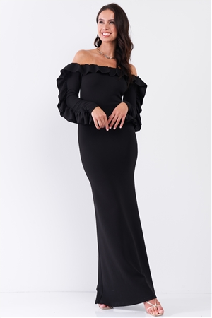 Black Off-The-Shoulder Ruffle Trim Detail Long Sleeve Fitted Maxi Dress /2-2-2