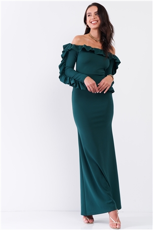 Hunter Green Off-The-Shoulder Ruffle Trim Detail Long Sleeve Fitted Maxi Dress /2-2-2